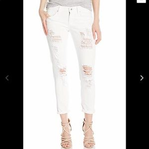 LUCKY BRAND White SIENNA SLIM BOYFRIEND DISTRESSED